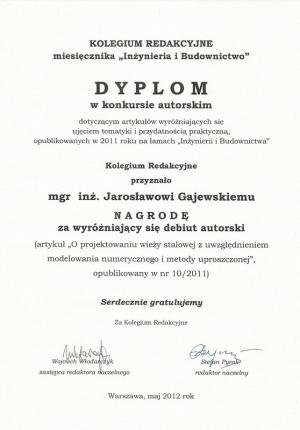 Dyplom od Inzynierii i budownictwa