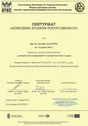 PK 2012 - Eurokody Certyfikat